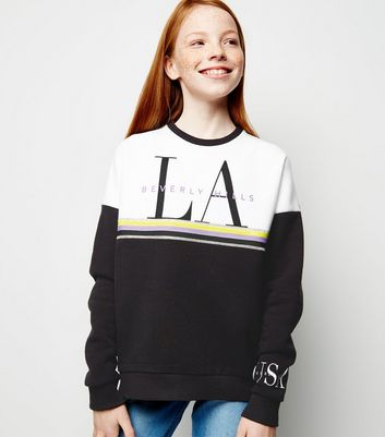 Girls Black Colour Block LA Slogan Sweatshirt