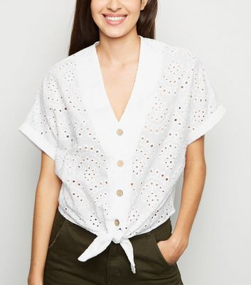 White Broderie Tie Front Shirt