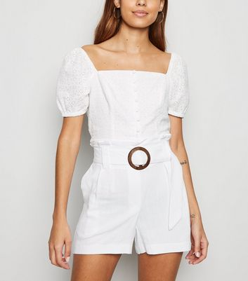 Off White Linen Look Buckle Shorts