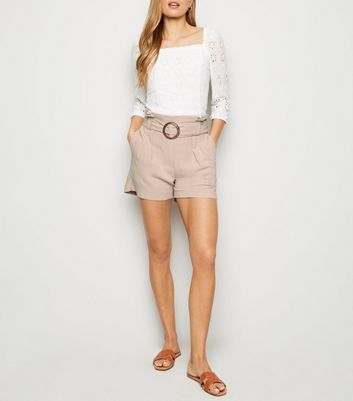 Stone Linen Look Buckle Shorts