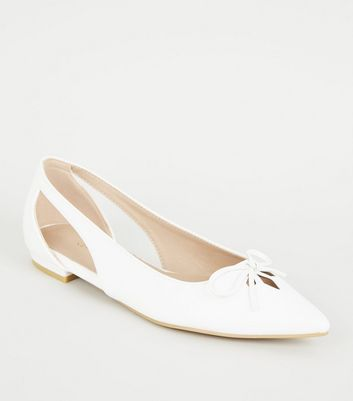 White Leather-look Pointed Ballet Pumps