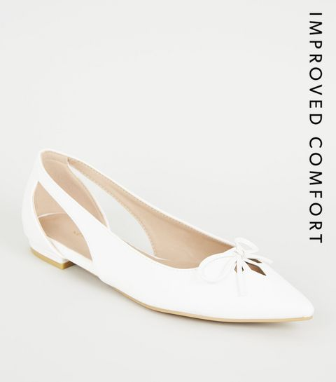 df1469e725b7 ... White Leather-look Pointed Ballet Pumps ...