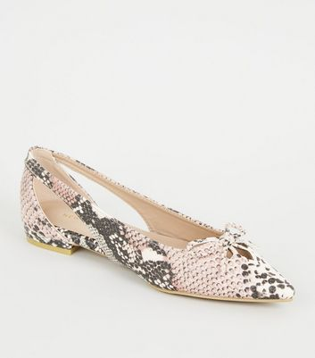 Camel Faux Snake Pointed Ballet Pumps
