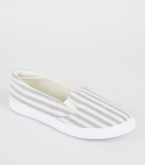 834caa725a7c ... Girls Blue Canvas Stripe Slip On Trainers ...