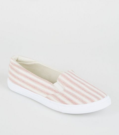 208058c7160 ... Girls Red Canvas Stripe Slip On Trainers ...