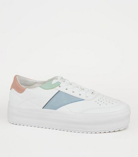 24366336b30c ... Girls White Leather-Look Colour Block Trainers ...