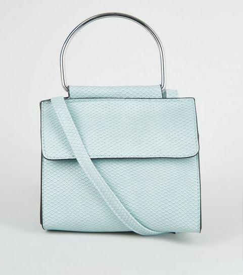 9d1c5eec49 ... Mint Green Faux Snake Metal Handle Cross Body Bag ...