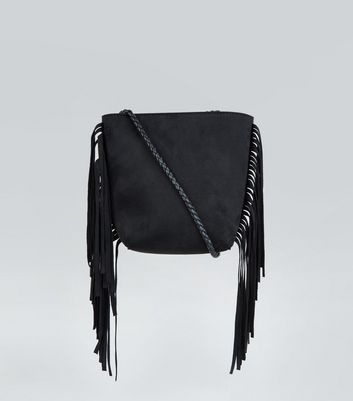 Black Fringed Plait Strap Bucket Bag