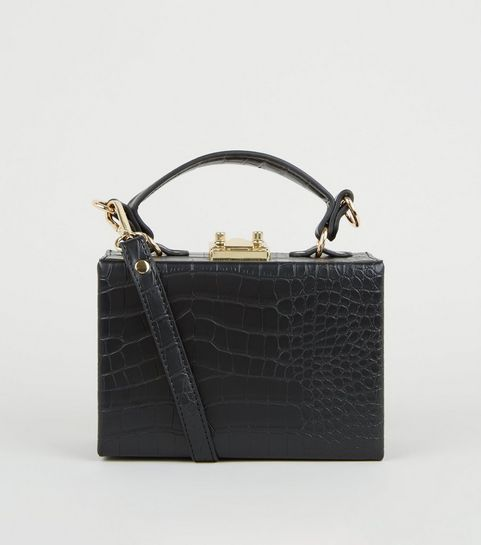 074b11521f ... Black Faux Croc Box Bag ...