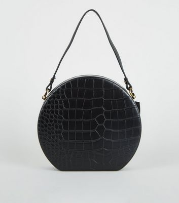 Black Faux Croc Round Shoulder Bag