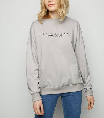Pale Grey Los Angeles Slogan Sweatshirt