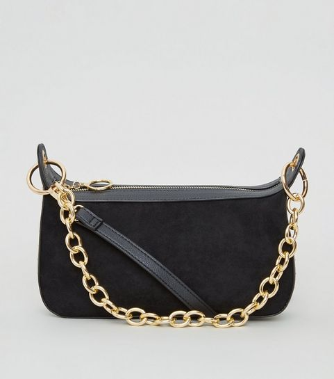 516784decc11 ... Black Suedette Chain Strap Shoulder Bag ...