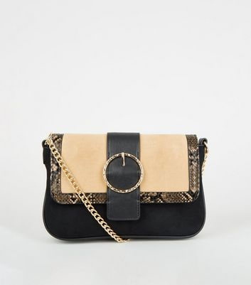 Brown Faux Snake Colour Block Shoulder Bag