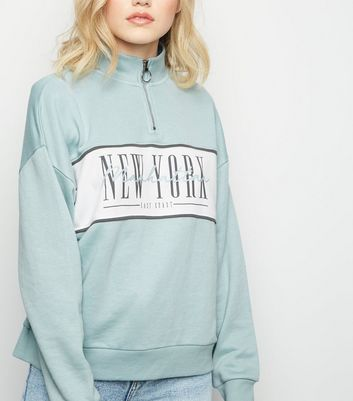 Mint Green New York Half Zip Jumper