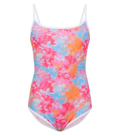 34909ba371 ... Girls Pink Tie Dye Swimsuit ...