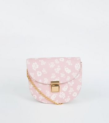 Pink Floral Cross Body Saddle Bag