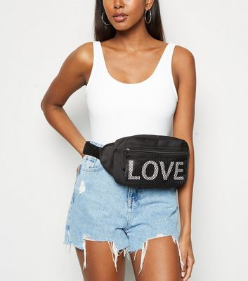 Black Love Slogan Bum Bag