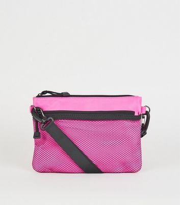 Bright Pink Neon Mesh Pocket Cross Body Bag