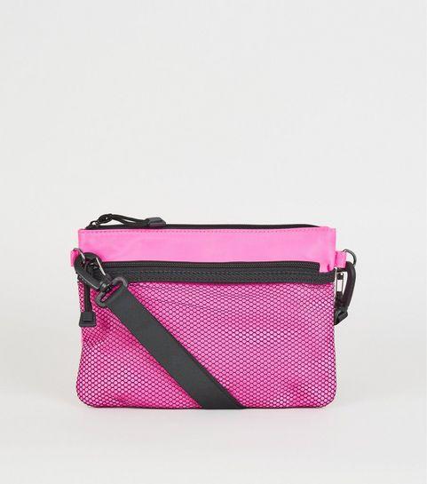 89e4da717f ... Bright Pink Neon Mesh Pocket Cross Body Bag ...