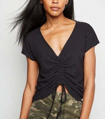 Black Ruched Front Fine Knit Top