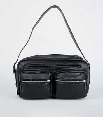 Black Leather-Look Utility Shoulder Bag