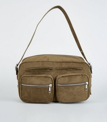 Khaki Suedette Utility Shoulder Bag
