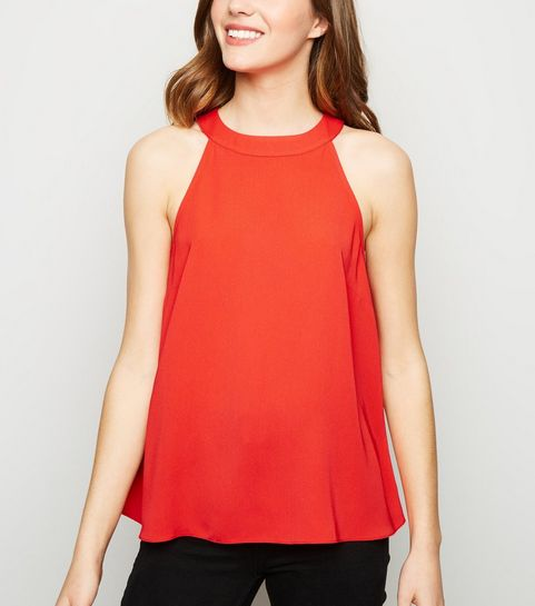 1442a3b0ff000 ... Red High Neck Top ...