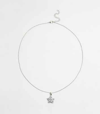 Silver Cubic Zirconia Flower Pendant Necklace