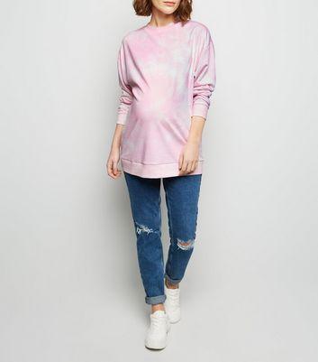 Umstandsmode – Rosa Oversized Sweatshirt mit Batikmuster Für später speichern Von gespeicherten Artikeln entfernen