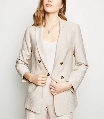 Stone Twill Double Breasted Blazer