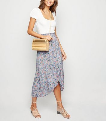 Lilac Ditsy Floral Shirred Midi Skirt