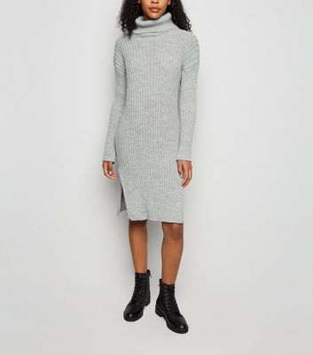 Urban Bliss Pale Grey Roll Neck Knit Dress
