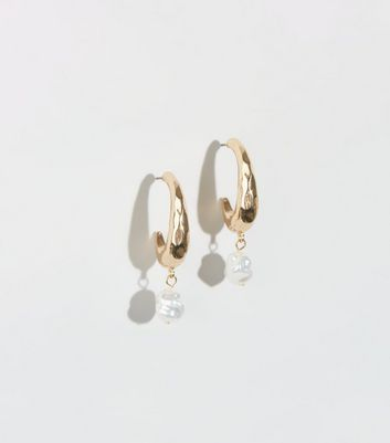 Gold Faux Pearl Half Hoop Earrings