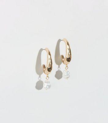 Gold Faux Pearl Half Hoop Earrings by New Look