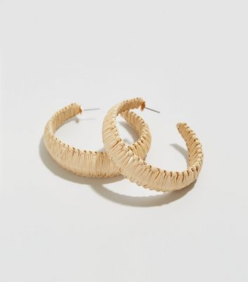 Cream Raffia Woven Chunky Hoop Earrings