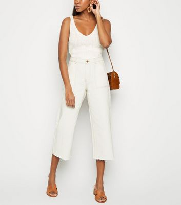 Off White Utility Pocket Wide Leg Jeans