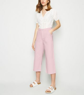Pink Utility Pocket Wide Leg Jeans
