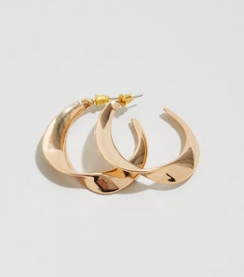 Gold Twist Flat Hoop Earrings