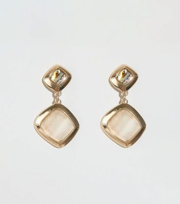 Gold Double Shell Drop Earrings