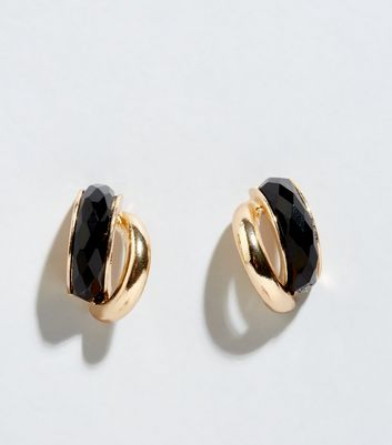 Black Dual Hoop Stud Earrings