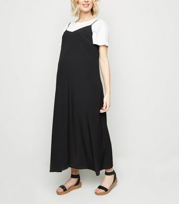 Maternity Black Bias Cut Slip Dress