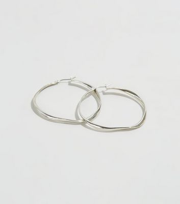 Silver Abstract Hoop Earrings