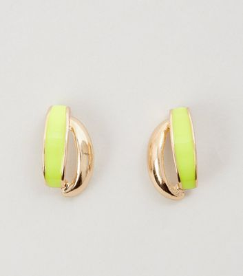 Yellow Neon Crossover Stud Earrings