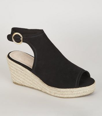 Black Comfort Peep Toe Espadrille Wedges