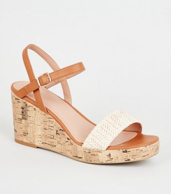 Off White Woven Strap Cork Wedges