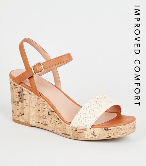 ... Off White Woven Strap Cork Wedges ... ef77aaa9c4e