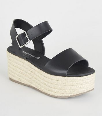Black Leather-Look Espadrille Flatform Sandals