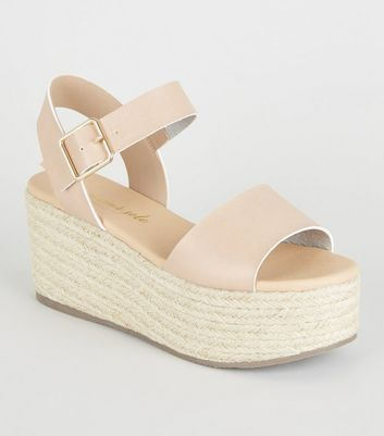 Nude Leather-Look Espadrille Flatform Sandals