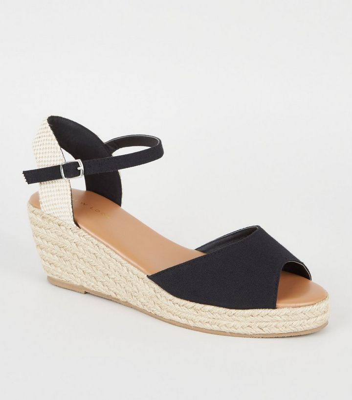 2a68042170a Black Suedette Peep Toe Espadrille Wedges Add to Saved Items Remove from  Saved Items