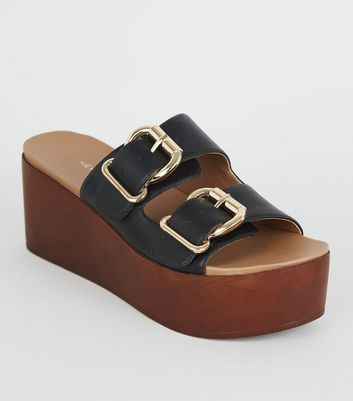 Black Leather-Look Wood Flatform Sliders